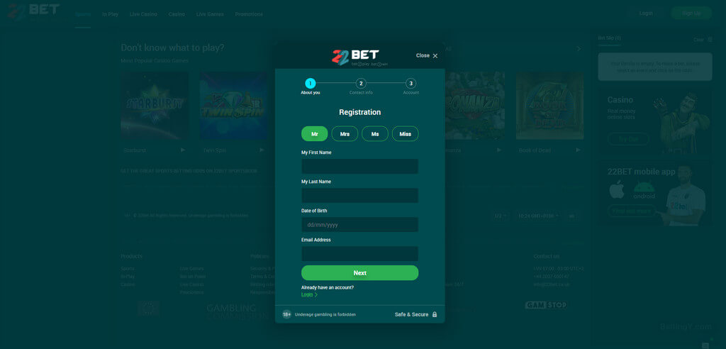 How to register in 22bet?