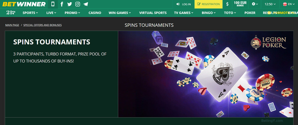 Spins Tournaments Betwinner