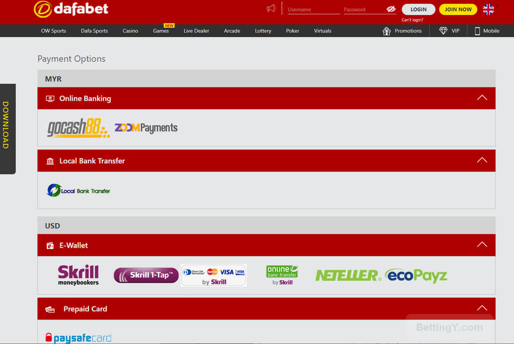 Payment Methods at Dafabet