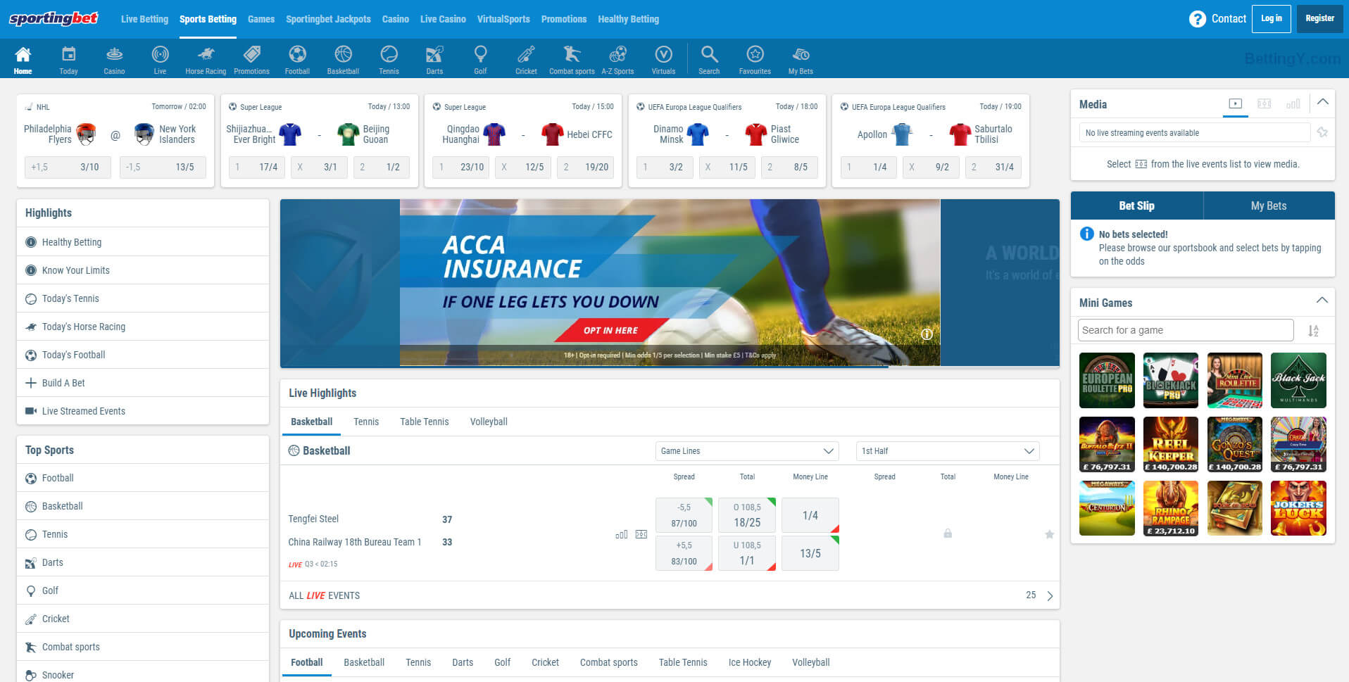 Sportingbet Design and Navigation