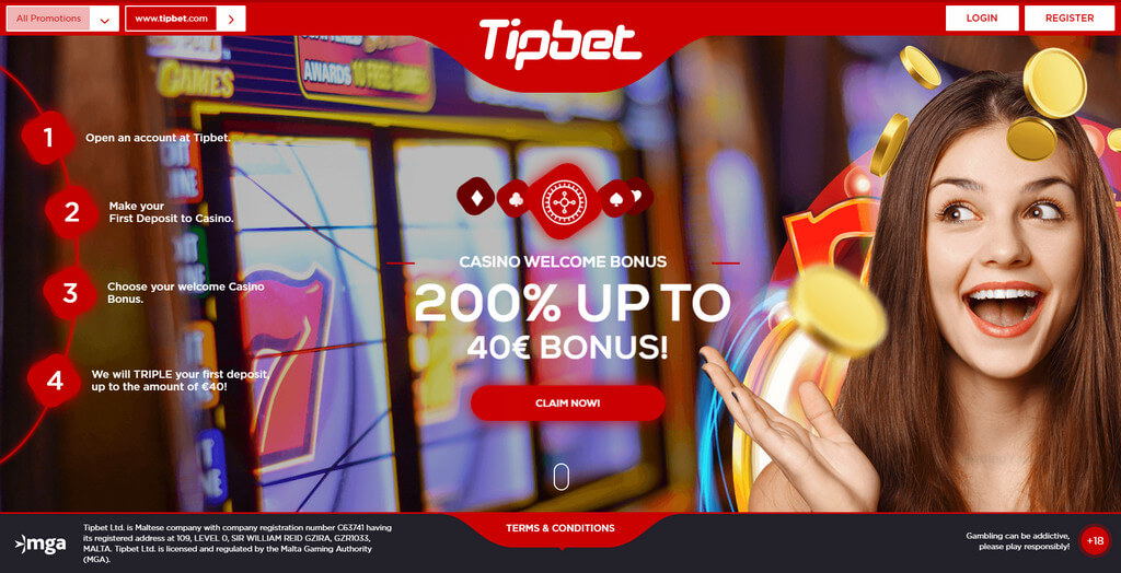 Welcome bonus offer for Tipbet's casino