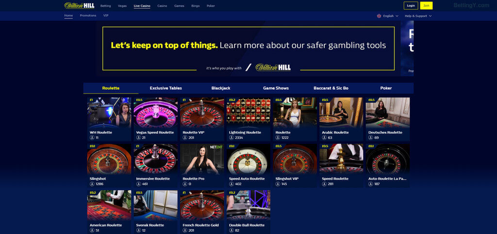 William Hill's live casino