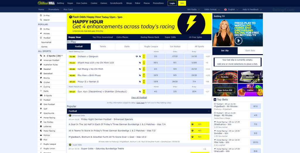 Sports betting in William Hill